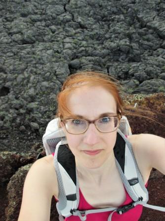 l hannah selfie above lava